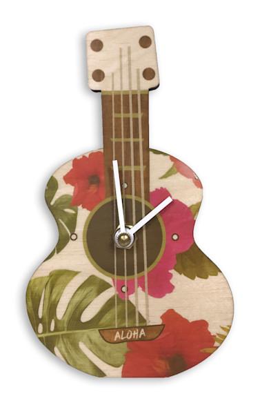 Ukulele White Floral Mini Cutout Clock