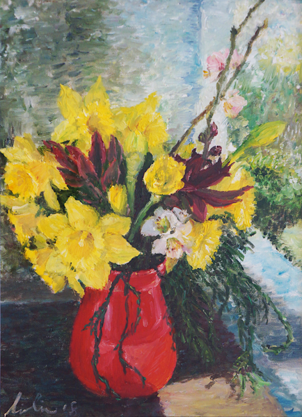 Red Vase With Flowers