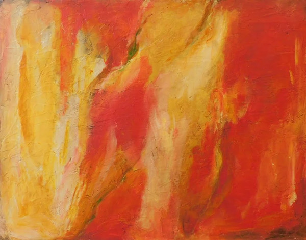 abstract painting, abstract art, golden, red, orange
