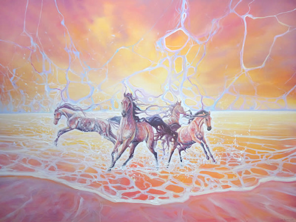 Elemental - LARGE ORIGINAL Oil Painting - a sunset seascape with horses