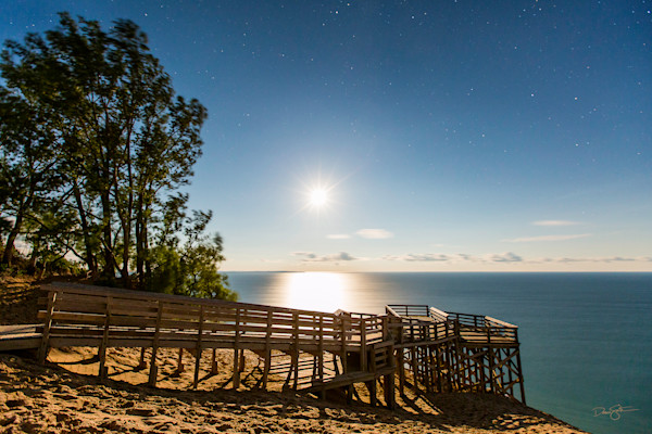 Full Moon over Lake Michigan Overlook