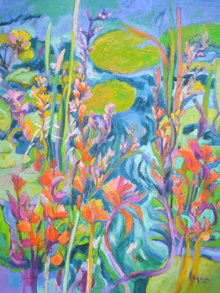 Vibrant Colors Lily Pond Painting, A Lily Pond of My Own Art Prints on Canvas by Dorothy Fagan