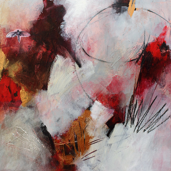 Red gold abstract original painting
