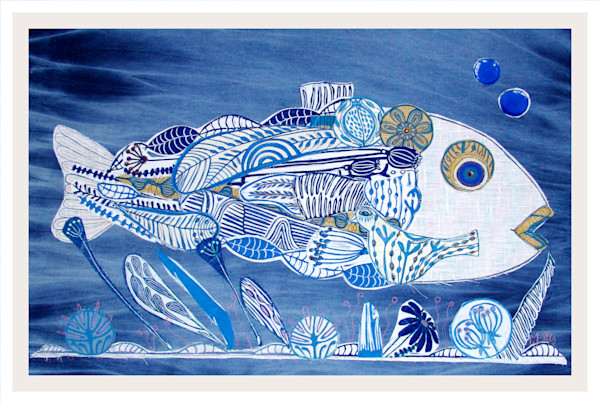 Deep Blue Ocean - linocut collage on textile