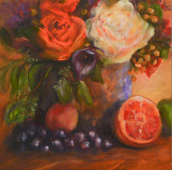 White Rose and Grapes Still Life