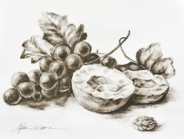 Dry Brush Oil Grapes and Peaches