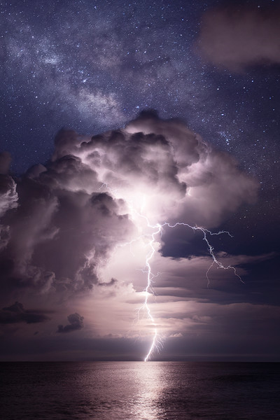 The Milky Way above a Lightning Storm on Navarre Beach Florida - Fine Art Prints on Canvas, Paper, Metal, & More | Waldorff Photography