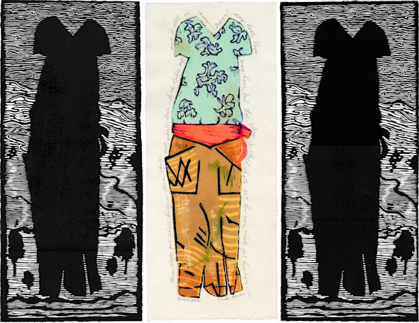 Billie's Dress, triptych, Billie Holliday dress handprinted by Ouida Touchon