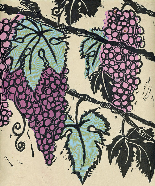 Grapes 4, woodcut print with chine colle, original art and archival reproductions for sale by fine artist, Ouida Touchon