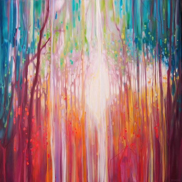 Revelation - a large abstract oil painting of a path through an autumn wood