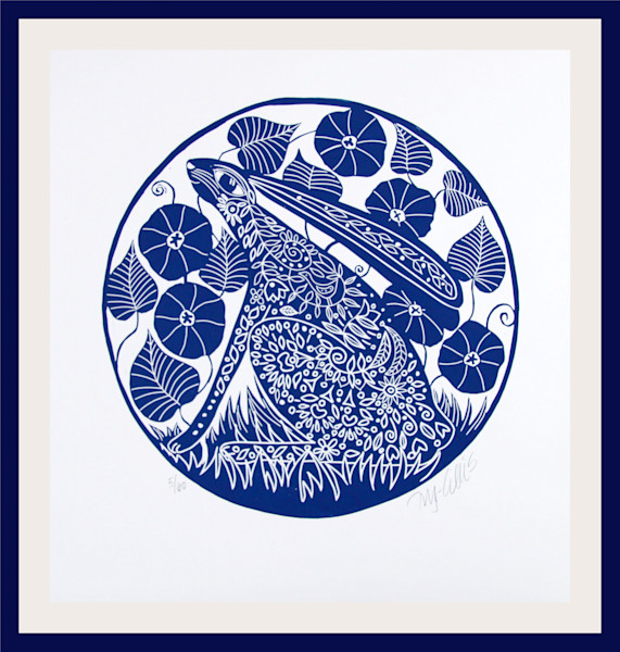 Hare and Morning Glory - round linocut
