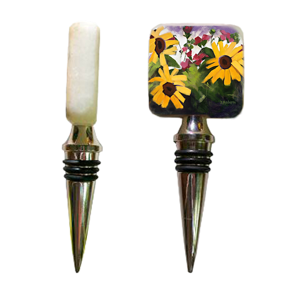 Three Sunflowers Wine Stopper | Artful Gifts | Tucson Art