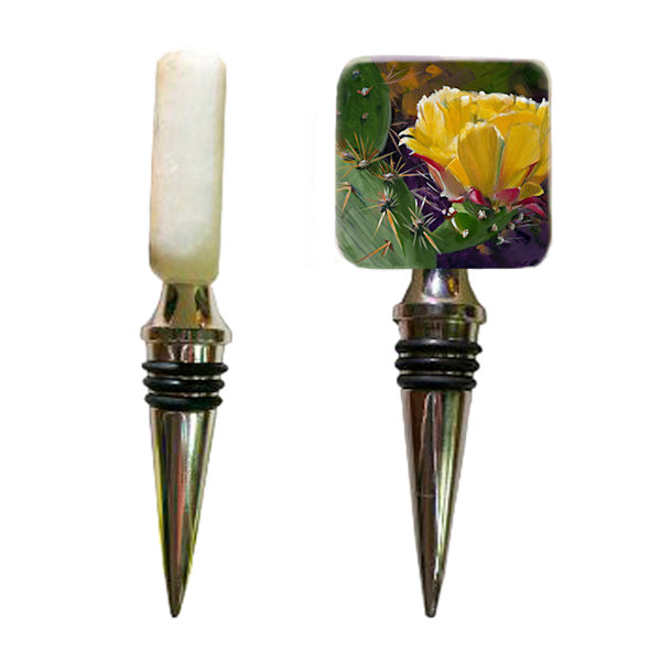 Prickly Pear Bloom Wine Stopper | Desert Gifts | Cactus Art