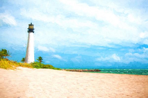Cape Florida Lighthouse Key Biscayne, FLorida, Cezanne-style