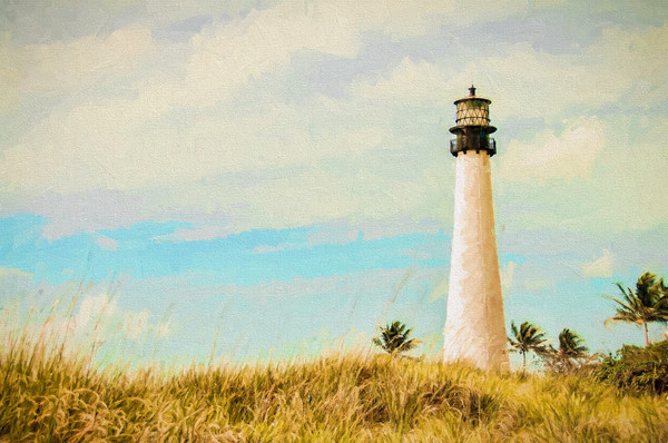 The Cape Florida Lighthouse in Key Biscayne, Florida, Degas-Style
