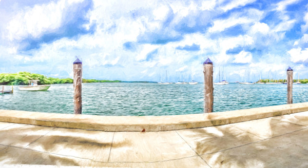 Sailboats at the Marina in Biscayne Bay, Cezanne Style