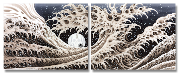 Great Waves Diptych Art | Kings Avenue Tattoo