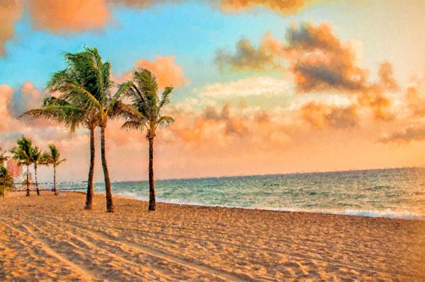 Golden Morning Sunrise on the Beach, Seurat-Inspired
