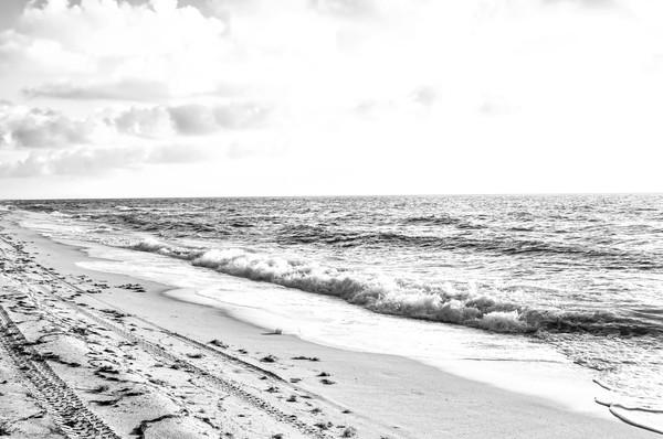Art of Crashing Waves on the Beach, BW