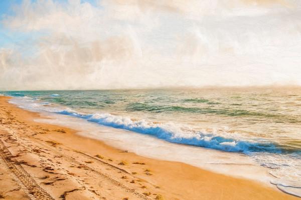 Oil GLaze Art of Crashing Waves on the Beach