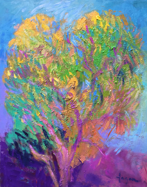 Colorful Abstract Tree Oil Paining Dance with Me by Dorothy Fagan