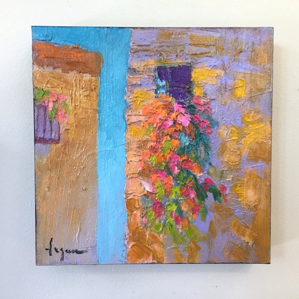 Small Tuscan Window Oil Painting, Sky by Dorothy Fagan