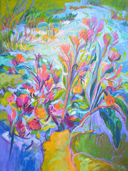Colorful Abstract Floral Art, A Pond of My Own, Original Oil Painting by Dorothy Fagan