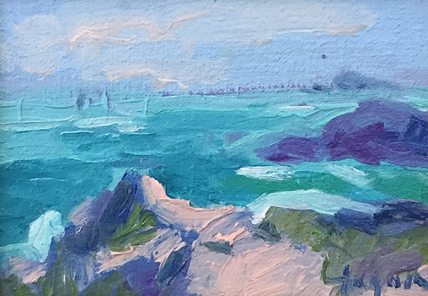Small Oil Painting Emerald Coast of France by Dorothy Fagan