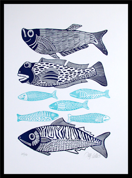 big fish in navy blue and small fish in turquoise blue in this large linocut from printmaker Mariann Johansen-Ellis, art, paintings