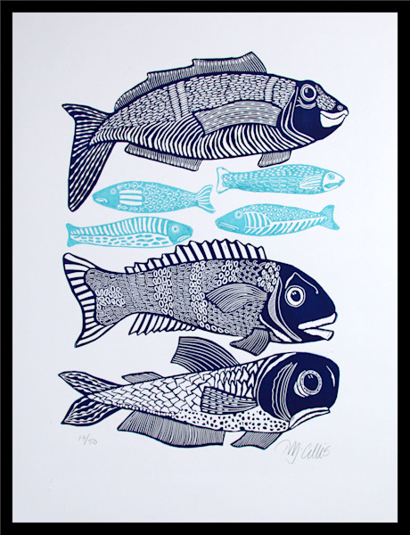 Big Fish I - linocut