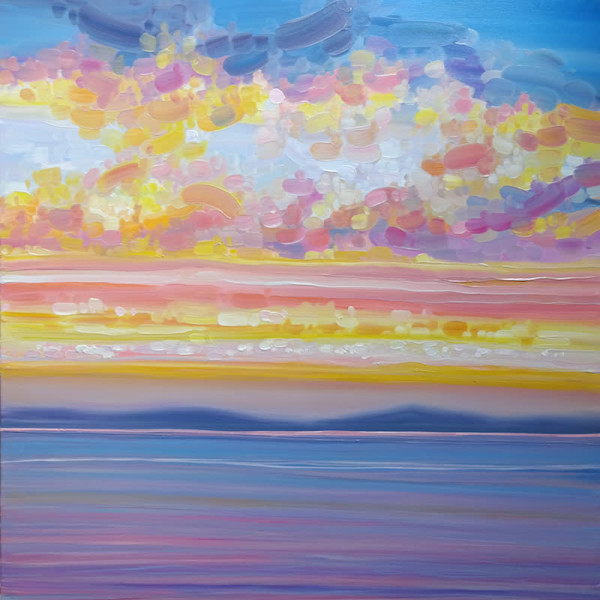 Lake Sunset - a sunset over the ocean expressionist painting by Gill Bustamante