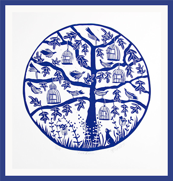 round linocut with a tree, birds and birdcages by printmaker Mariann Johansen-Ellis, art, paintings