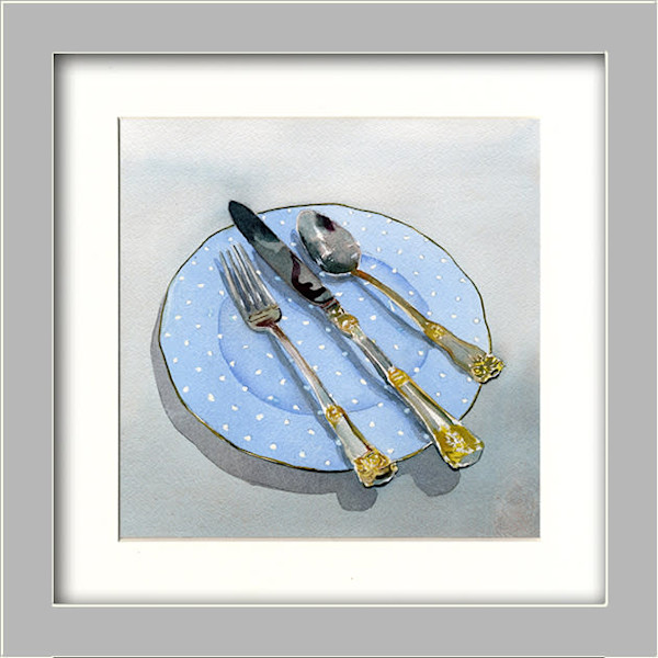 Calming Blue Polka Dot Plate and Silverware Original Fine Art
