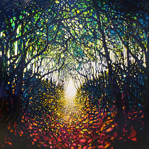 Almost There... A very large forest path painting in oil on canvas