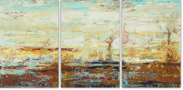 Calliope Crashed to the Ground triptych painting by Holly Whiting