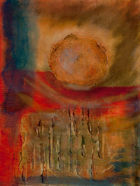 Riding High, Dipping Low abstract painting by Jana Kappeler suggesting a meteor flying above the surface of the Earth.