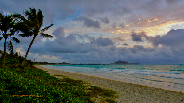 Kailua Beach, lovely morning, Sunrise and blue water