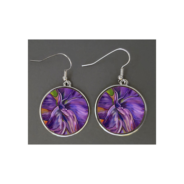 Unique jewelry created with Mare's Art - Dear Dahlia - artwork printed right on the earrings, perfect for you or as an artsy gift!