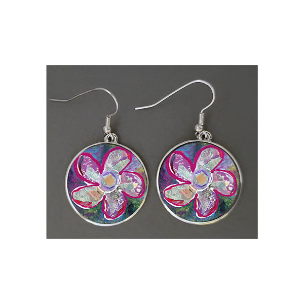 Unique jewelry created with Mare's Art artwork of 'Vitality' printed right on the earrings, perfect for you or as an artsy gift!