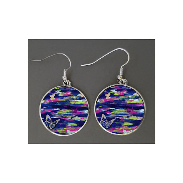 Unique jewelry created with Mare's Art artwork of Metamorphosis printed right on the earrings.