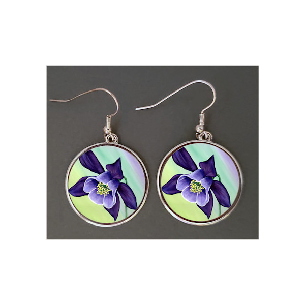"Playful & stylish floral earrings are just about 1"" round and feature Mare's Art, Graceful Columbine, the artwork of Mary Anne Hjelmfelt."