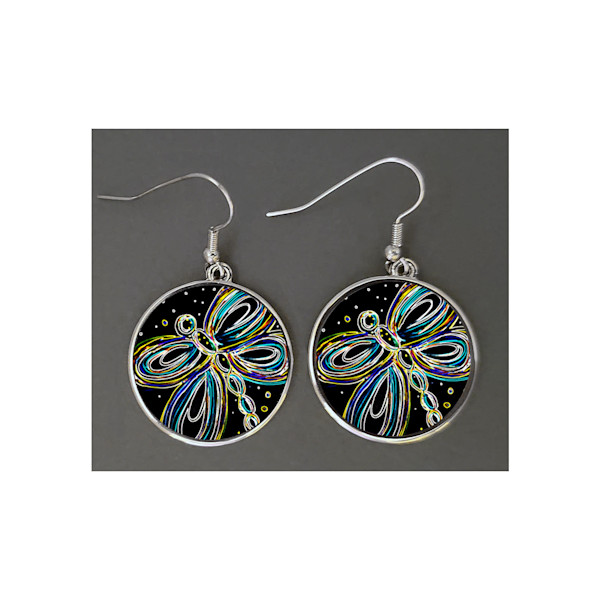 "These playful round shaped earrings are about 1"" in diameter and feature Mare's Art, Dragonfly - the artwork of Mary Anne Hjelmfelt."