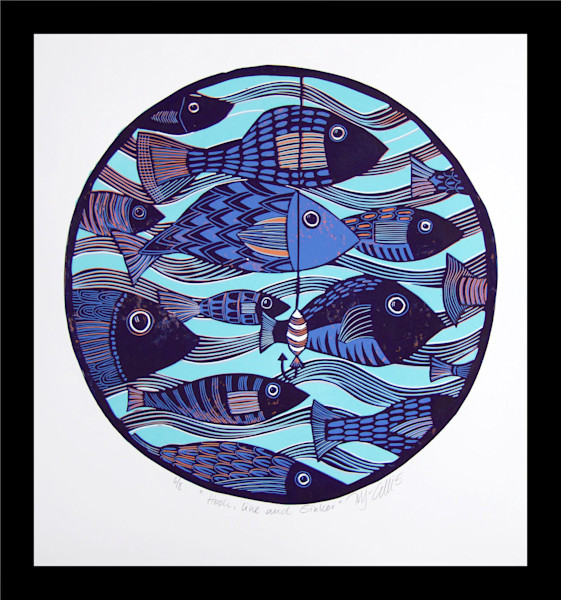 Fish and Beach, Original art linocuts and etchings with fish, tropical fish and beach scenes,  painting, art, paintings