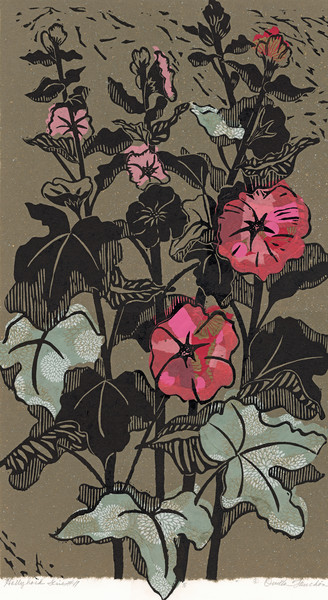 Hollyhocks #2, woodcut art prints for sale by Ouida Touchon