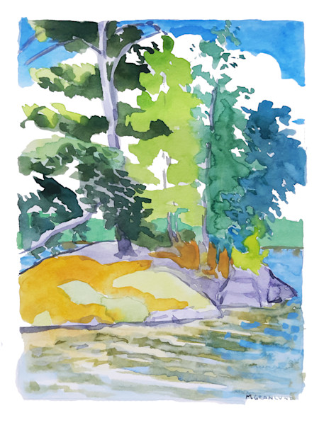 Rocks and Trees a Gouache Painting by Mark Granlund
