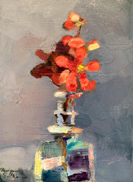 Fantastic Still Life oil painting with coral flowering quince blooms in vintage bottle.