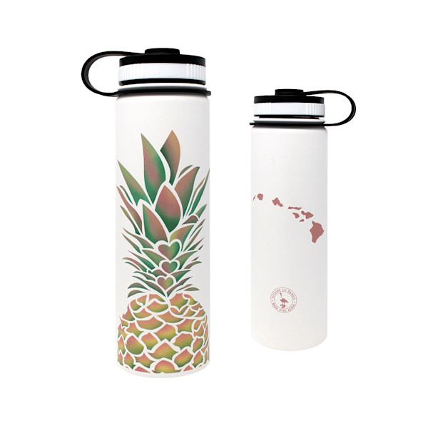 Pineapple Hearts White Flask