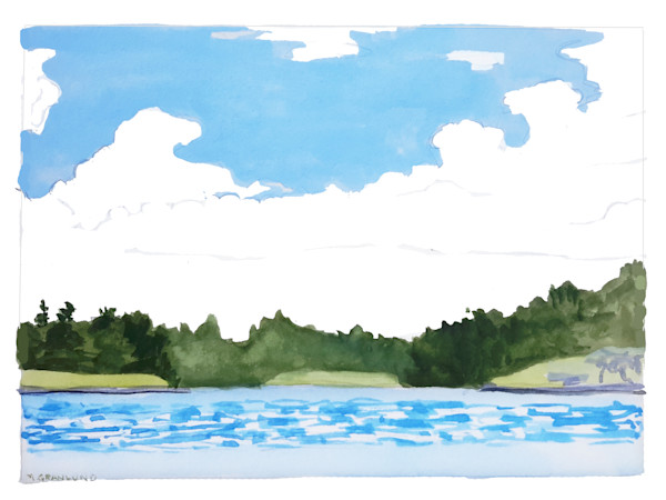 Lakescape gouache painting by Mark Granlund