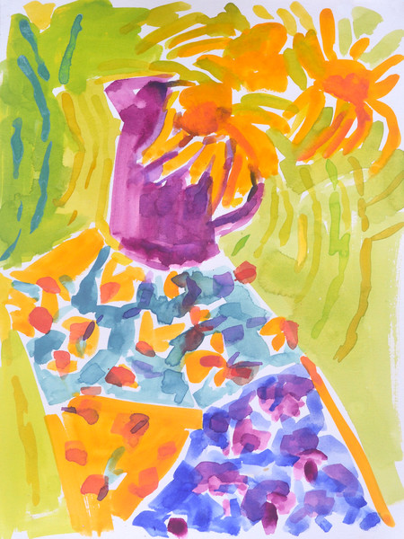 Abstract Sunflowers Art Painting Print  Watercolor by Dorothy Fagan