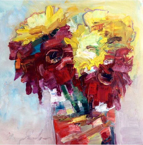 Still Life Oil Painting of sunflowers red gerbera daisies and mums 3 i red water vase oil painting.